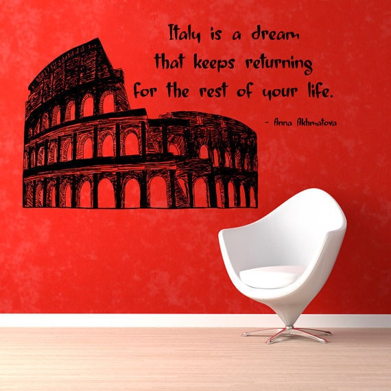 Italy Is A Dream Wall Quotes Words Home Decor Vinyl Art Nursery Room