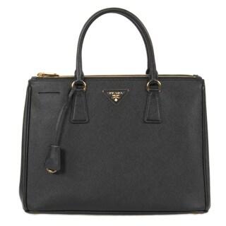 Prada Galleria Saffiano Lux Leather Black Double Handle Bag