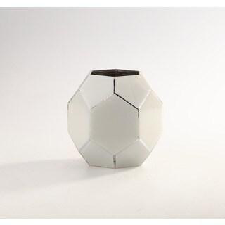 White Glass Geometric Vase