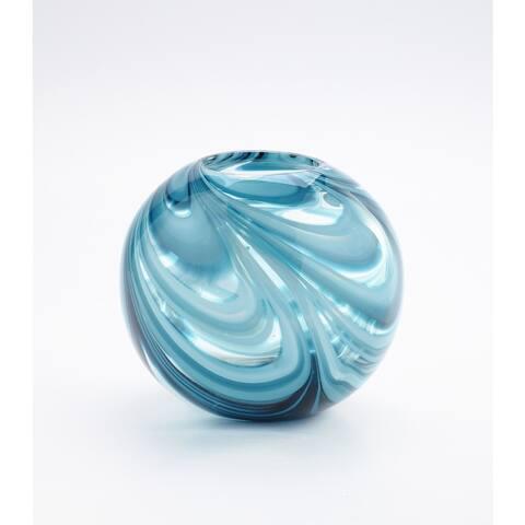 Blue and White Glass Round Swirl Vase