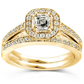 Annello by Kobelli 14k Yellow Gold 5/8ct TDW Asscher Diamond Halo Bridal Set