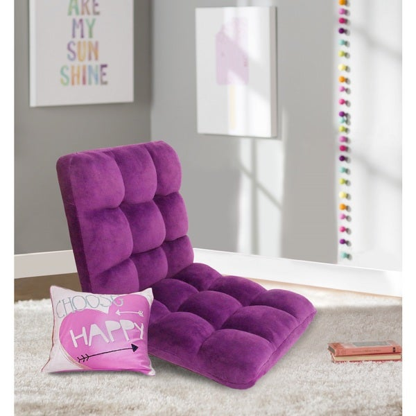 Chic Home Loungie Purple Quilted Microfiber Armless Recliner Chair