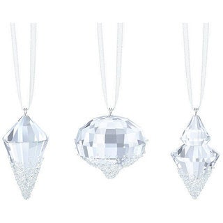 Clear Crystal Christmas Ornaments (Set of 3)