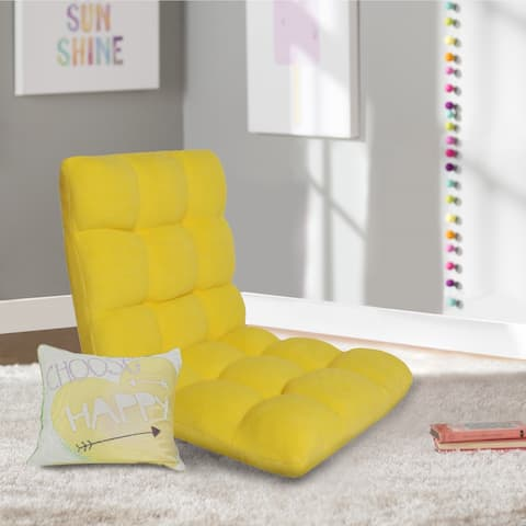 Chic Home Armless Quilted Recliner Chair, Yellow