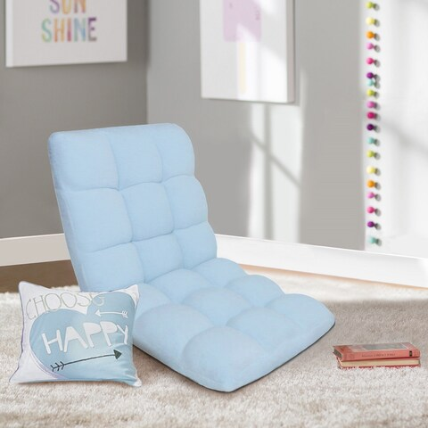 Chic Home Loungie Light Blue Armless Quilted Recliner Chair