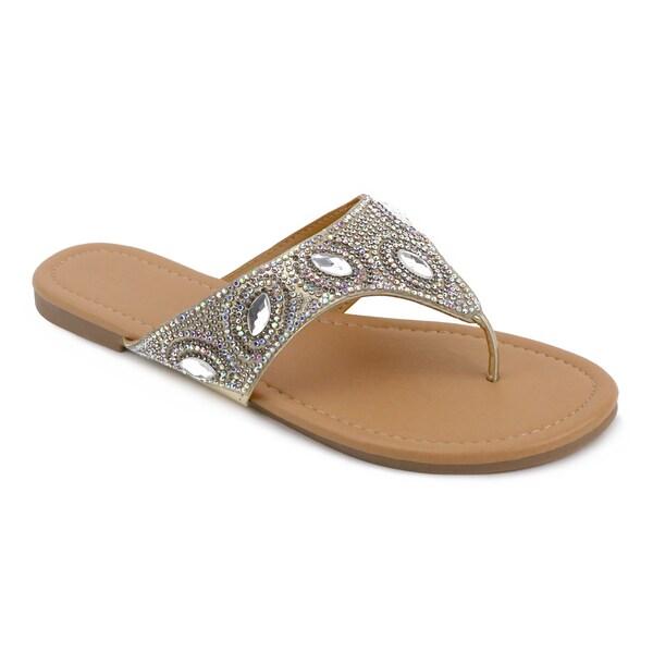 Shop Olivia Miller Yulia Multi-Rhinestone Slip-On Flip-Flop Thong Sandals - Free -7264