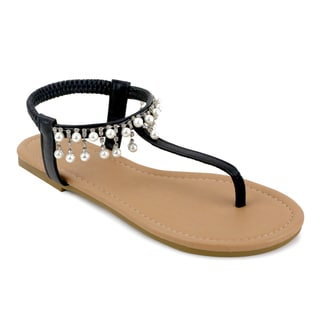 Olivia Miller 'Parisa' Black/ White Synthetic Polyurethane Pearl Sandals
