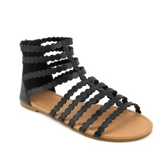 Olivia Miller 'Cairi' Black/Brown Synthetic Polyurethane Gladiator Sandals