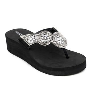 Olivia Miller 'Mariella' Black/Grey EVA and Polyurethane Wedge Sandals