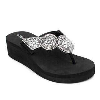 Olivia Miller 'Mariella' Black/Grey EVA and Polyurethane Wedge Sandals