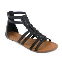 Olivia Miller 'Krishna' Black/Gold Synthetic Polyurethane Gladiator Sandals