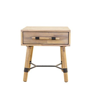 Aurelle Home Contemporary Rustic Wood Side Table