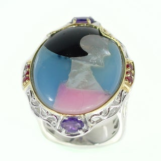 Michael Valitutti Inlaid Ring Accented By Ruby and Amethyst