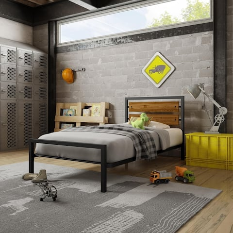Amisco Fargo Twin Size Metal Bed with Wood