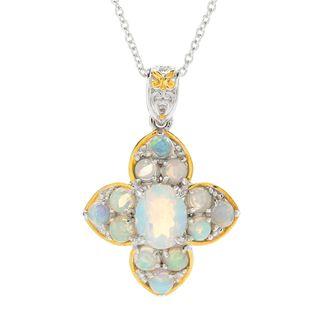 "Michael Valitutti Palladium Silver Ethiopian Opal Flower Pendant w/ 18"" Cable Chain"