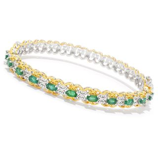 Michael Valitutti Palladium Silver Choice of Size Zambian Emerald East/West Bangle Bracelet