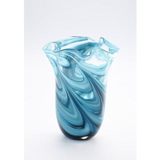 Ruffle Blue/White Glass Art Vase
