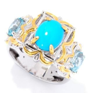 Michael Valitutti Palladium Silver Sleeping Beauty Turquoise & Blue Zircon Three-Stone Ring