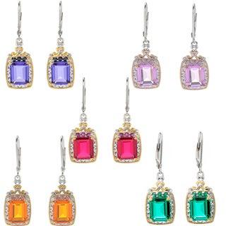 "Michael Valitutti Palladium Silver Emerald Cut ""Mini Czarina"" Quartz Doublet Drop Earrings"