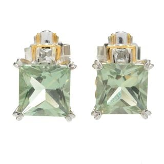 Michael Valitutti Palladium Silver Princess Cut Green Amethyst & White Topaz Stud Earrings