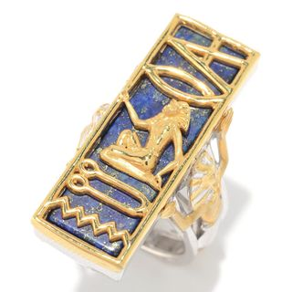 "Michael Valitutti Palladium Silver Cleopatra ""I Love You"" Lapis Lazuli Hieroglyphic Ring"