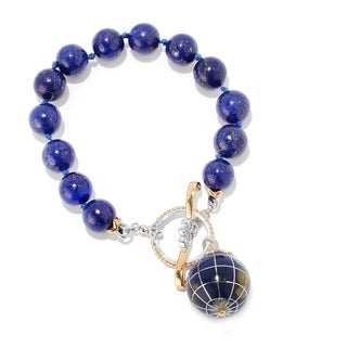 Michael Valitutti Palladium Silver Lapis & Gemstone Inlay Globe Charm Toggle Bracelet
