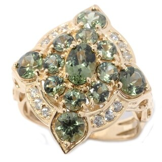 Michael Valitutti Palladium Silver 14K Yellow Gold Tashmarine & White Zircon Ring