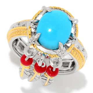 Michael Valitutti Palladium Silver Sleeping Beauty Turquoise & Red Bamboo Coral Feather Charm Ring