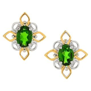 Michael Valitutti Palladium Silve Chrome Diopside Flower Petal Halo Stud Earrings