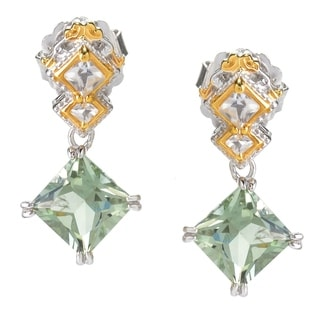 Michael Valitutti Palladium Silve Prasiolite & White Topaz Diamond Shaped Drop Earrings
