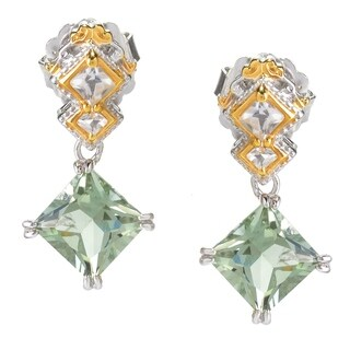 Michael Valitutti Palladium Silve Prasiolite & White Topaz Diamond Shaped Drop Earrings