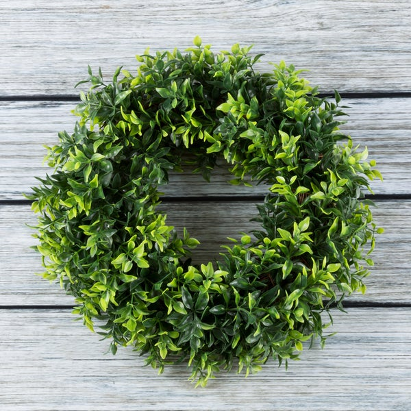 Artificial Opal Basil Leaf 11.5 inch Round Wreath by Pure Garden. Opens flyout.