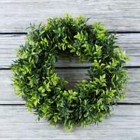 Artificial Opal Basil Leaf 11.5 inch Round Wreath by Pure Garden