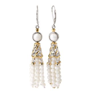 Michael Valitutti Palladium Silver White Bamboo Coral Beaded Tassel Earrings