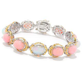Michael Valitutti Palladium Silver Ethiopian Opal & Pink Opal Line Bracelet