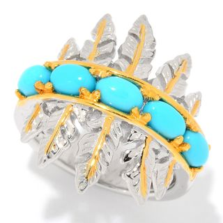Michael Valitutti Palladium Silver Sleeping Beauty Turquoise Graduated Five Stone Feather Band Ring
