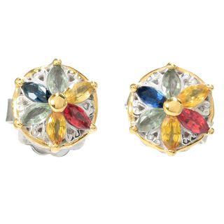 Michael Valitutti Palladium Silve Multi Color Sapphire Flower Stud Earrings