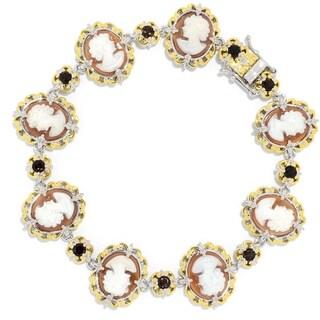 Michael Valitutti Palladium Silver Carved Shell Cameo & Smoky Quartz Link Bracelet