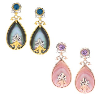 Michael Valitutti Palladium Silve Mother-of-Pearl Doublet & Gemstone Drop Earrings (2 options available)