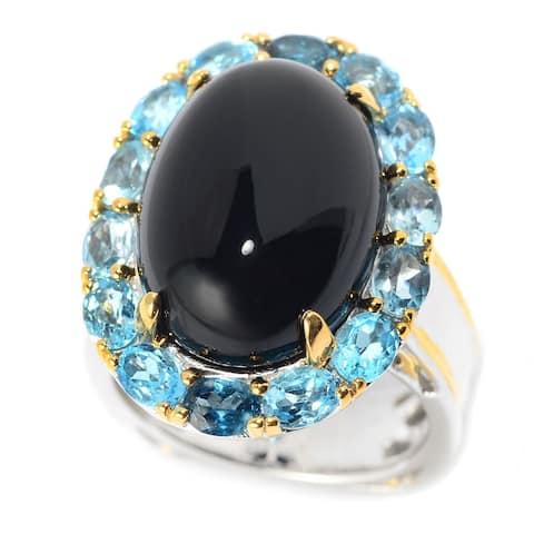 Michael Valitutti Palladium Silver Black Onyx & Multi Blue Topaz Ombre Halo Ring