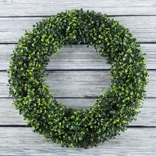 Pure Garden Green 19.5-inch Artificial Boxwood Round Wreath