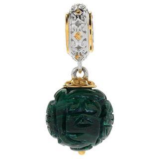 Michael Valitutti Palladium Silver Asia Carved Malachite Bead Drop Charm