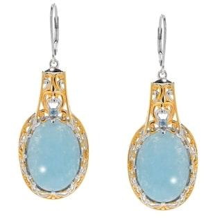 Michael Valitutti Palladium Silve Peruvian Opal & Swiss Blue Topaz Drop Earrings