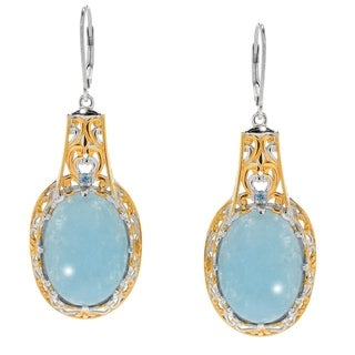 Michael Valitutti Palladium Silve Peruvian Opal & Swiss Blue Topaz Drop Earrings