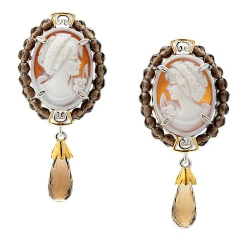 Michael Valitutti Palladium Silve Carved Shell Portrait Cameo & Smoky Quartz Drop Earrings