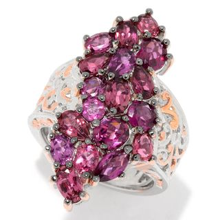 Michael Valitutti Palladium Silver Rhodolite & Pink Tourmaline Elongated Cluster Ring