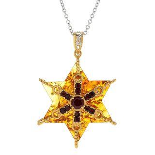 Michael Valitutti Palladium Silver Amber & Garnet Star of David Pendant w/ Chain