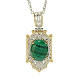 """Michael Valitutti Palladium Silver Malachite Shield Pendant w/ 18"""" Cable Chain"""