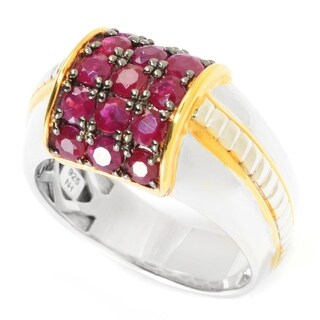 Michael Valitutti Palladium Silver Ruby 15-Stone Curved Band Men's Ring