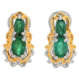 Michael Valitutti Palladium Silve Emerald Two-Stone Earrings w/ Omega Backs